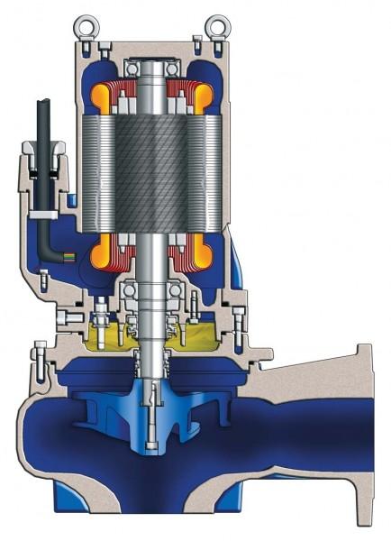 Tauchmotorpumpe mit Vortex Freistromlaufrad, Grauguss, Meerbronze und Edelstahl